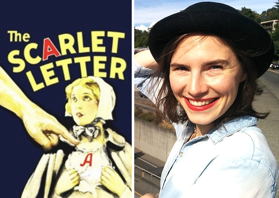 Composite Image Of Amanda Knox And The Scarlet Letter Cover From 1934