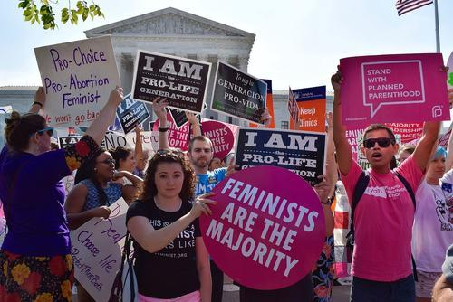 Pro-choice demonstration in front of supreme court