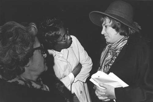 Bella Abzug Speaking with Constituents, 1976, by Diana Mara Henry