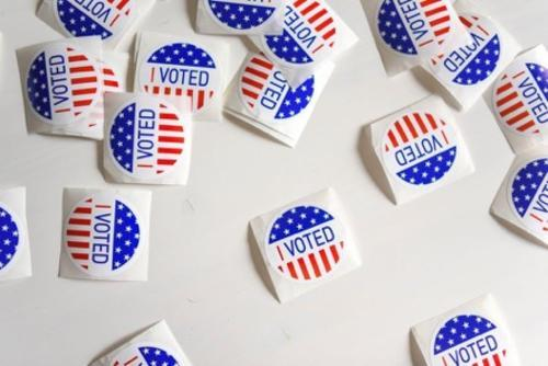 "Stock Photo of ""I Voted"" Stickers"