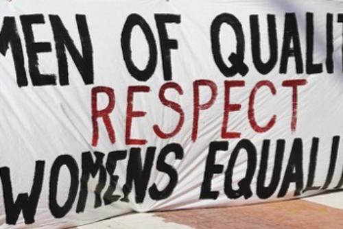 "Banner that reads, ""men of quality respect women's equality"