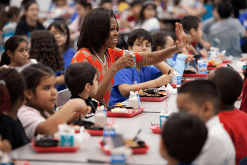 First Lady Michelle Obama with Students