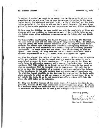 Letter from Rabbi Eisendrath to Bernard Goodman, November 13, 1963, page 2 of 2