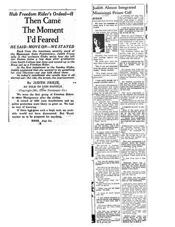 """Then Came the Moment I Feared,"" Boston Globe, July 31, 1961"