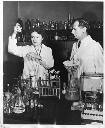 Dr. Gerty Theresa Radnitz Cori and Carl Ferdinand Cori in the Lab