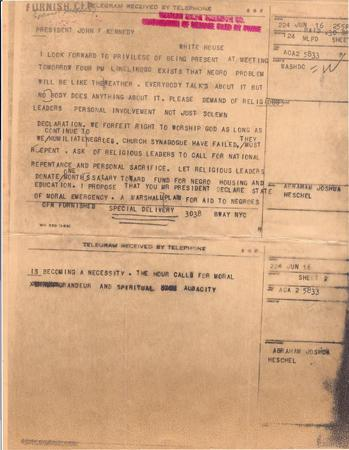 Telegram from Abraham Joshua Heschel to President John F. Kennedy, June 16, 1963