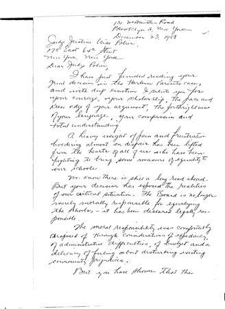 Letter To Justine Wise Polier From Annie Stein, December 23, 1958, page 1