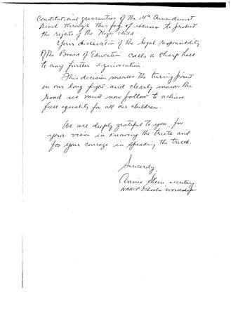 Letter To Justine Wise Polier From Annie Stein, December 23, 1958, page 2