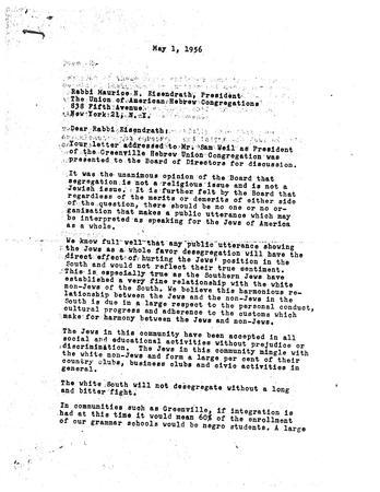 Letter from Hebrew Union Congregation from Rabbi Eisendrath, May 1, 1956, page 1 of 2