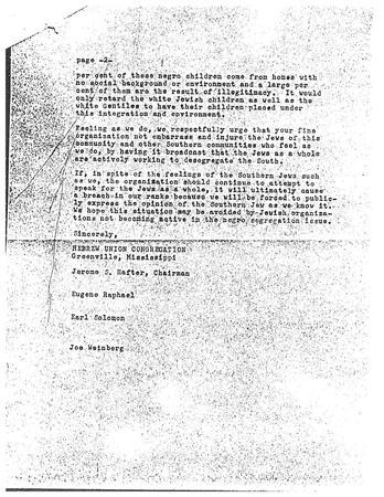 Letter from Hebrew Union Congregation from Rabbi Eisendrath, May 1, 1956, page 2 of 2