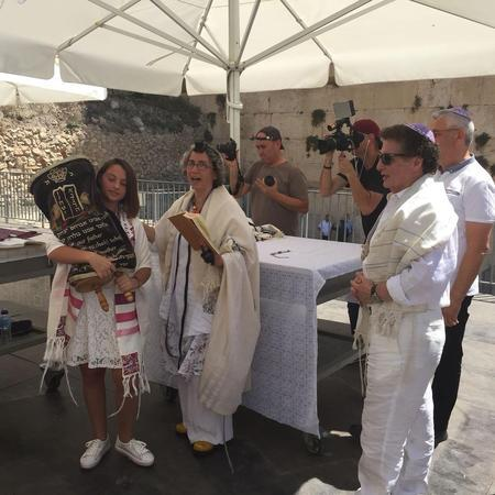 Rabbi Claudia Kreiman leads a bat mitzvah service at the egalitarian section of the Western Wall.