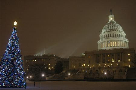 United States Capital, featuring Christmas tree in foreground.
