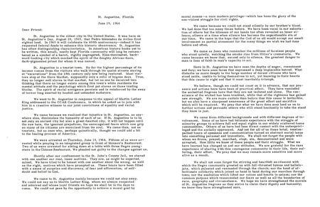 """Why We Went: A Joint Letter from the Rabbis Arrested in St. Augustine,"" June 19, 1964, page 2 of 3"