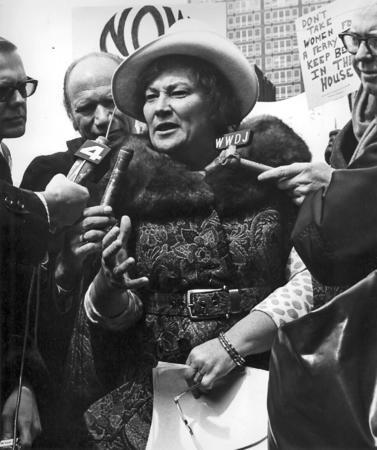 Bella Abzug at a Press Conference in Battery Park, New York, 1972, by Diana Mara Henry