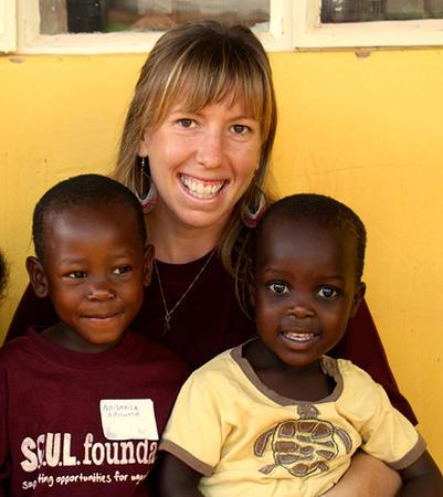 Brooke Stern with Ugandan Children