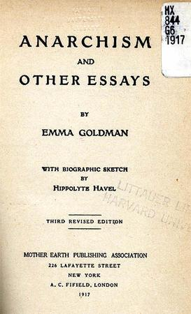"""Anarchism and Other Essays"" Cover Page and Table of Contents by Emma Goldman, 1917, Page 1"