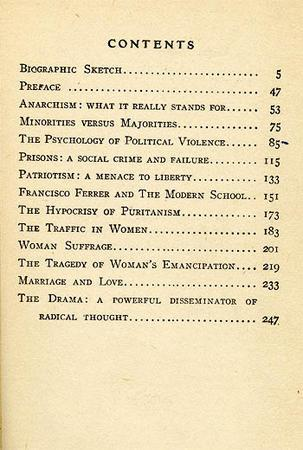 """Anarchism and Other Essays"" Cover Page and Table of Contents by Emma Goldman, 1917, Page 2"