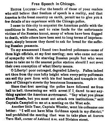 "Emma Goldman's Letter to the Editor of ""Lucifer the Light-Bearer,"" November 30, 1902, page 1"