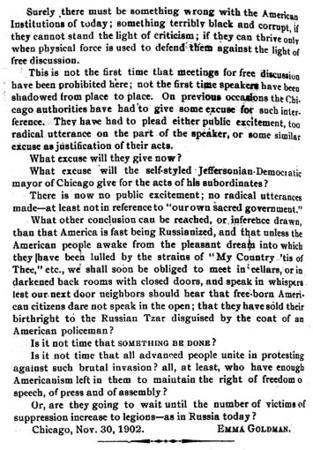 "Emma Goldman's Letter to the Editor of ""Lucifer the Light-Bearer,"" November 30, 1902, page 2"