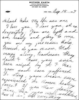Excerpt of Letter from Emma Goldman to Ben Reitman, August 15, 1909