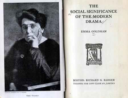 """The Social Significance of the Modern Drama"" Cover by Emma Goldman, 1914"