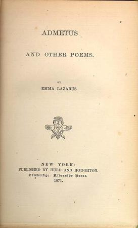 """Admetus and Other Poems"" Cover Page by Emma Lazarus, 1871"