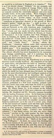 """The Critic"" Essay on American Literature by Emma Lazarus, June 18, 1881 (Page 2 of 2)"
