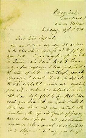 Letter from Ivan Turgenev to Emma Lazarus, September 2, 1874, page 1