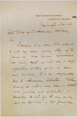 Letter from John Hay to Editor of American Hebrew, Nov. 26, 1887, page 1
