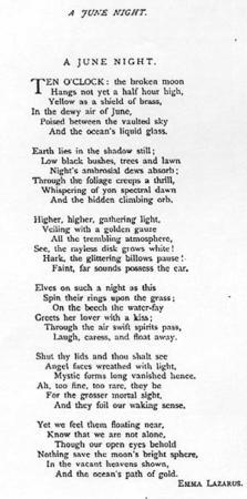 """A June Night"" by Emma Lazarus, 1878"