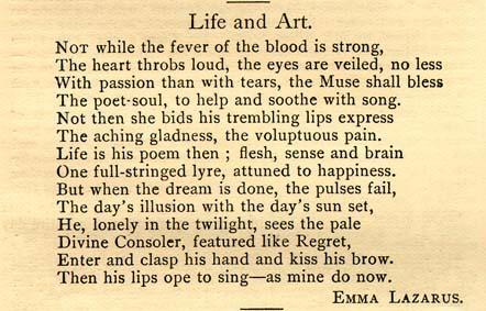 """Life and Art"" by Emma Lazarus, 1882"
