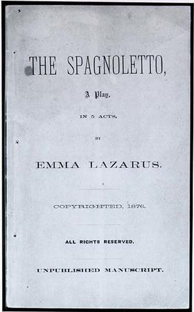 """The Spagnoletto: A Play in 5 Acts"" Cover by Emma Lazarus, 1876"