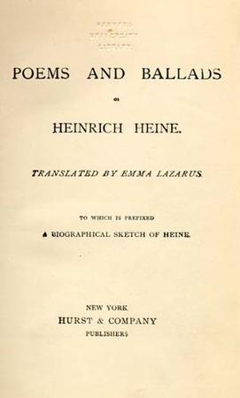 """Poems and Ballads of Heinrich Heine,"" Translated by Emma Lazarus, 1881"