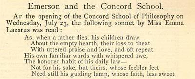 Sonnet by Emma Lazarus, Read at the Concord School, page 1
