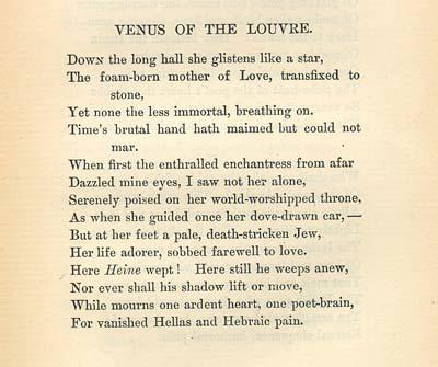 """Venus of the Louvre,"" by Emma Lazarus, 1889"