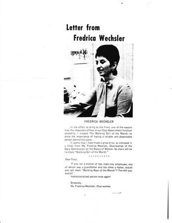 Letter to the Editor by Fredrica Wechsler, 1973