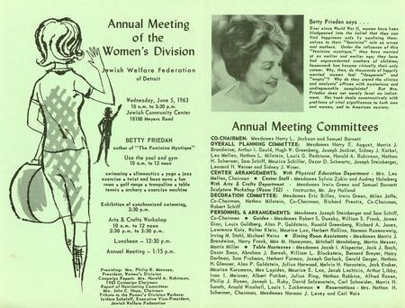 Flyer for Betty Friedan's 1963 Presentation in Detroit