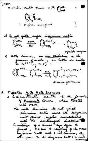 Excerpt from Gertrude Elion's College Chemistry Notebook, circa 1930s