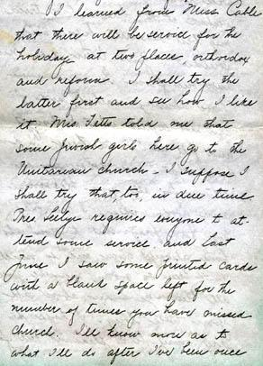 Letter from Gertrude Weil to her Family, September 26, 1897 - excerpt from page 2