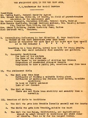 Conference on The Adolescent Girl in the War Camp Area, Page 1