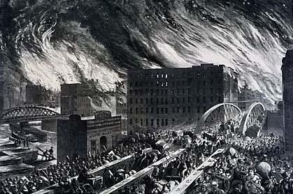 """The Rush for Life Over the Randolph Street Bridge"" in Harper's Weekly, October 28, 1871"