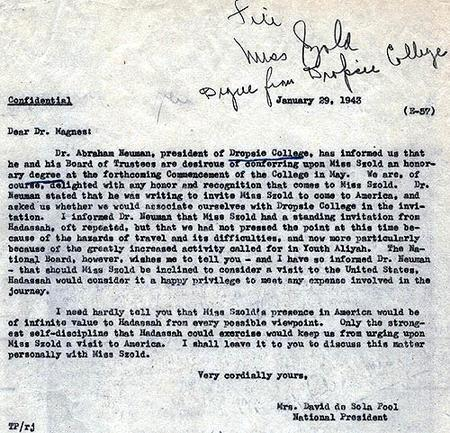 Letter from Mrs. David de Sola Pool to Dr. Judah Magnes, January 29, 1943
