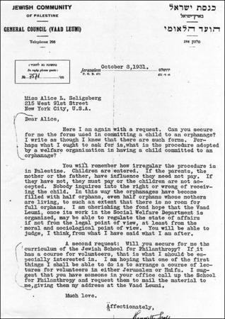 Letter from Henrietta Szold to Alice Seligsberg, October 8, 1931