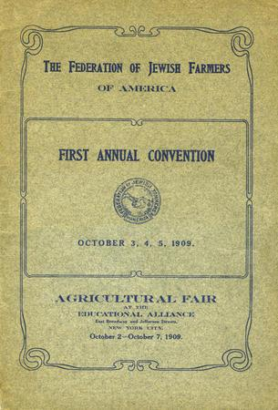 Federation of Jewish Farmers of America Convention Booklet, October 1909