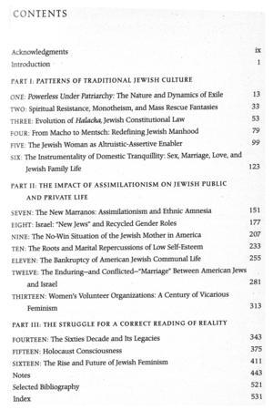 """Jewish Women, Jewish Men: The Legacy of Patriarchy in Jewish Life"" Table of Contents"