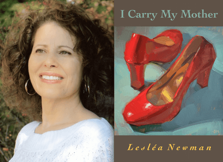 "Leslea Newman with ""I Carry My Mother"""