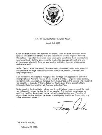 President Carter's Proclamation of National Women's History Week