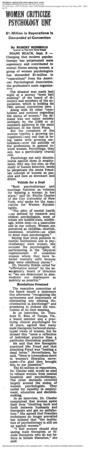 """Women Criticize Psychology Unit"" New York Times, September 6, 1970"