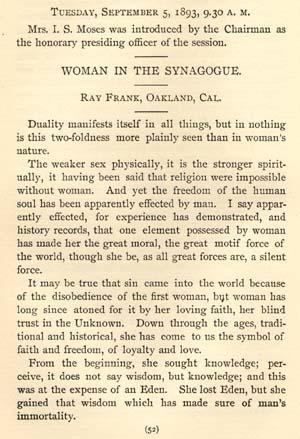 "Excerpt from Ray Frank's Paper, ""Woman in the Synagogue,"" Given at the Jewish Women's Congress, 1893"