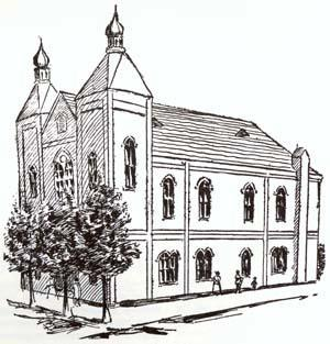 Drawing of the First Hebrew Congregation, Oakland, California, circa 1886
